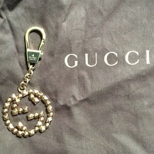 Gucci Studded GG Keychain in Light gold hardware